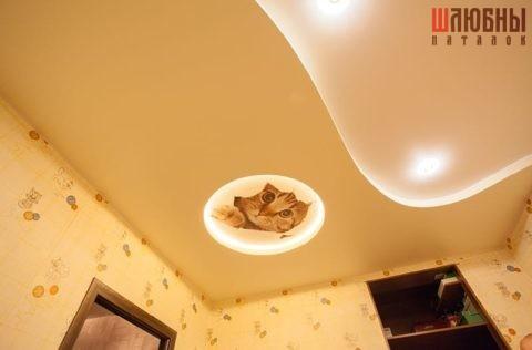 Двухуровневый потолок с фотопечатью в детскую