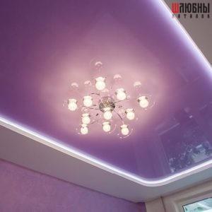 Двухуровневый потолок с подсветкой в гостиную