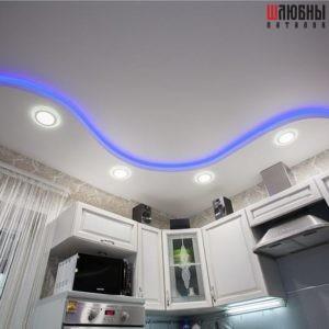 Двухуровневый потолок с подсветкой в кухню