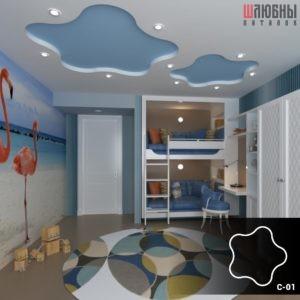 Красивый звездный натяжной потолок в детской